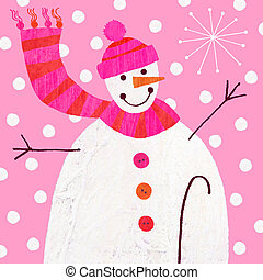 Snowman - Contemporary christmas illustration of a snowman