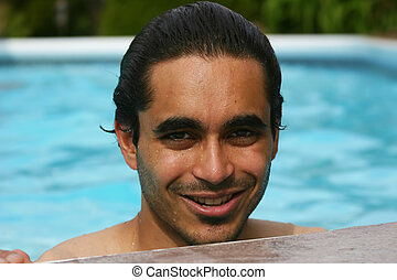 Summer at the pool - Attractive man at the poolside