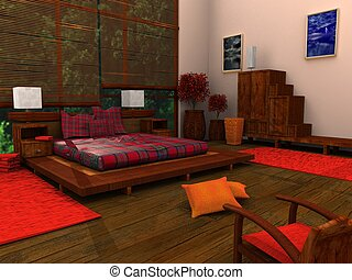 Ethnic Bedroom - 3d Ethnic Bedroom