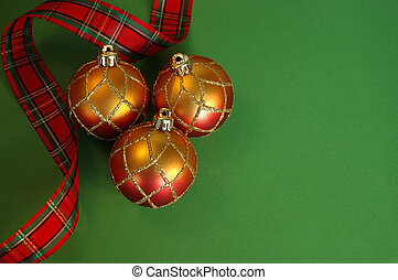 Christmas Background - Plaid ribbon and red and gold...