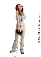 Woman Casual Phone - Beautiful young woman in casual...