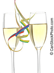 Champagne Celebratio - Two wine glasses with party streamers