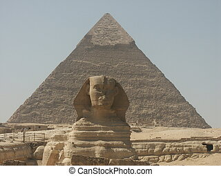 Cheops and Sphinx - Pyramids and Sphinx near Cairo Egypt