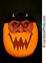 Jack O Lantern Devil - Halloween carved pumpkin with devil...