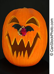 Jack O Lantern Bat - Halloween carved pumpkin with jagged...