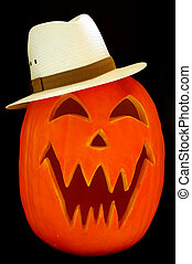 Jack O Lantern Hat - Halloween carved pumpkin wearing a...