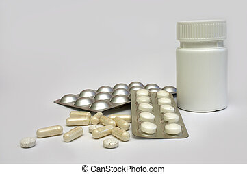 Drugs - An assortment of generic drugs in tablets and...