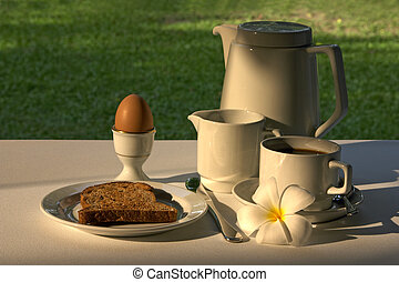 Breakfast - A pot of tea or coffee, cream, toast, egg and...