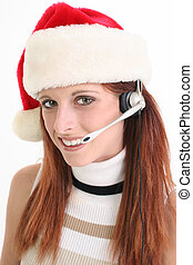 Christmas Woman Rep - Beautiful young woman with headset and...
