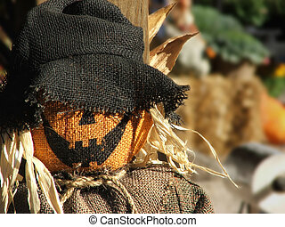 Scarecrow Portrait - Grinning scarecrow face in bright...