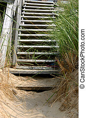 Lake Michigan - stairs leading to a beachfront home