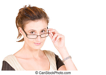 Business Lady 93 - Business woman with glasses - holiding...