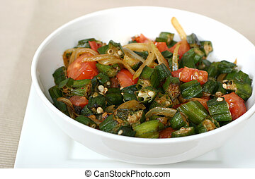 Indian Food - Okra - Traditional Indian dish of Okra shallow...