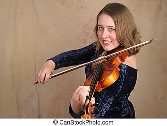 Classical Violinist 2 - A horizontal view of a pretty woman...