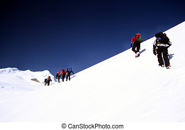 Climbing Mera - Climbers on the ascent to Mera Peak in the...