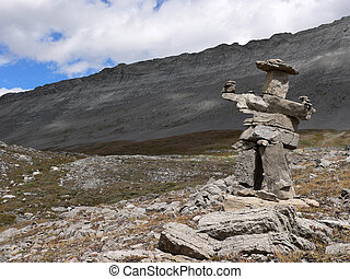 Small Inukshuk on Wilcox Pass trail, Jasper National Park,...