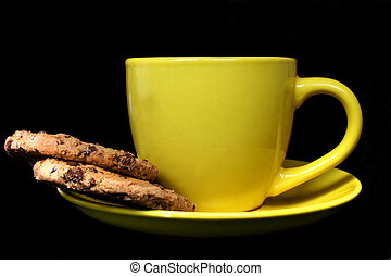 Coffee Break - Bright cup of coffee or tea and biscuits