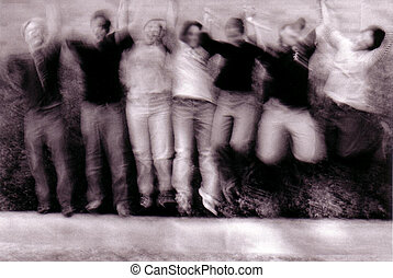gravity - group of people jumping in the air