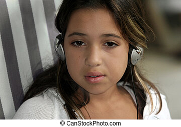 Listening to music - Cute girl listening to music
