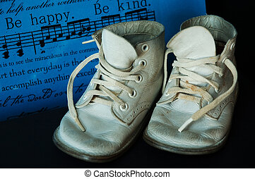 Vintage Baby Shoes - Sentiment says Be Happy. Vintage baby...