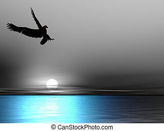Sea Eagle - Eagle Silhouette on a monochrome sky and blue...