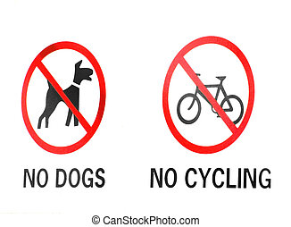 restriction signs - no go signs for dogs and cyclists
