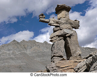 Small Inukshuk marking Wilcox Pass trail, Jasper National...