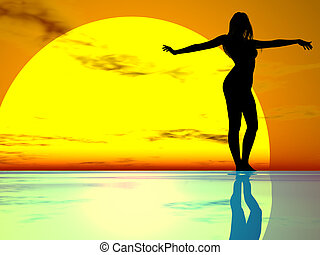 Graceful Girl - Nude female silhouette gracefully against a...