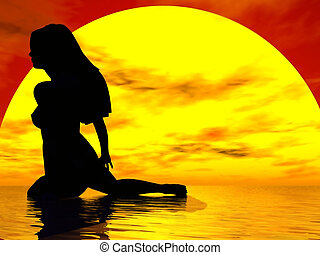Graceful Pose - Lovely silhouette of a nude woman against a...