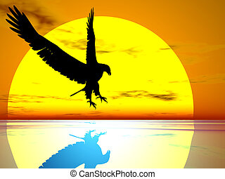 Eagle of The Sun - Silhouette of an eagle against the...