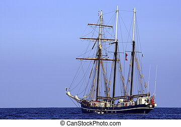 Three sail schooner, cala bona, mallorca, majorca, spain