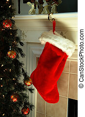 Christmas Stocking hanging on the Fireplace Mantle next to...