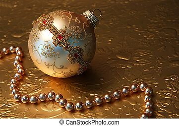 Christmas - Gold handmade vintage ornament and gold beads...