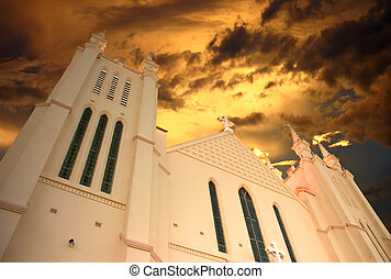 Gateway to Heaven - Church front with spires rising to the...