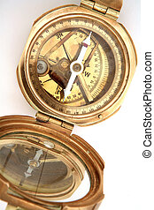 Brass compass - An old brass compass, possibly a surveying...