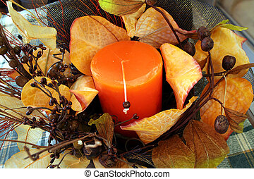 composition - Christmas composition with leafs and candle