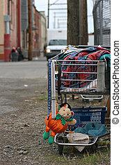homeless shopping cart - shopping cart of a homeless...