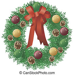 Christmas Wreath - Christmas wreath illustration ideal for...