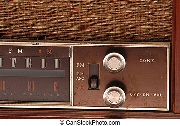 am fm - dials on an antique am-fm radio