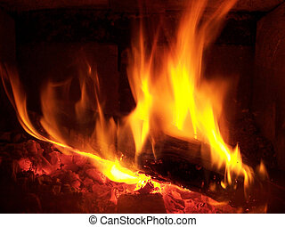 Log on the Fire - Fire place
