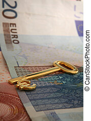 Key to wealth 1 - A gold euro key on a pile of euro...