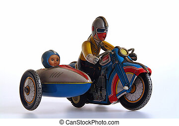 Tin Toy Motorcycle and Sidecar - Retro clockwork tin toy,...