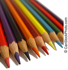 Coloured pencils isolated on a white background