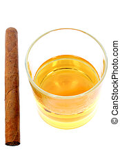 Whisky and Cigar - Isolayed glass of whisky and cigar