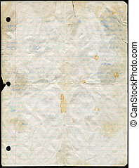 Stained Loose Leaf Paper - Dirty used loose leaf paper.