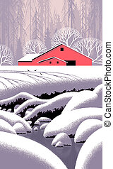 Winter Barn Scene - Image from an original painting by Larry...
