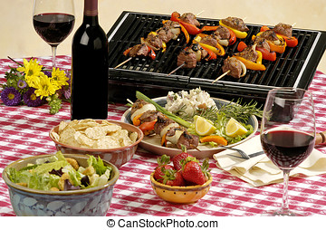wine BBQ - picnic table setting, wine and food, all logos...