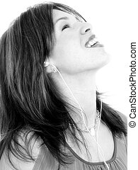 Woman Hispanic Music - Beautiful young Hispanic woman...