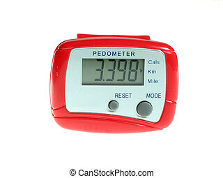 Bright Red Pedometer - Shiny red pedometer isolated over...