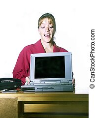 woman presenting with a laptop - office woman presenting...